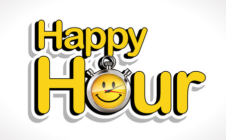 Stopwatch - Happy hour logo concept, vector illustration