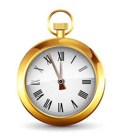 Golden watch on white background