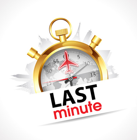 minutes: Stopwatch - Last Minute - travel and tourism concept Illustration