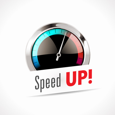 Snelheidsmeter - Speed ​​Up! Stock Illustratie