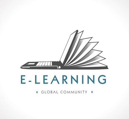 образование: Логотип - электронного обучения Иллюстрация