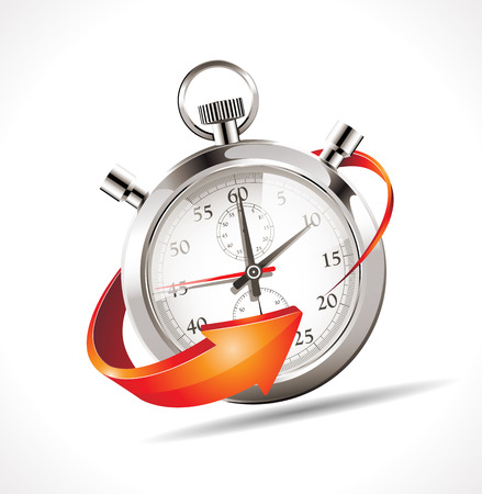 time clock: Stopwatch - turn back time Illustration