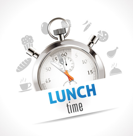 lunch tray: Stopwatch - lunch time Illustration
