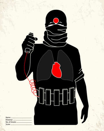 military training: Terrorist - shooting range target Illustration