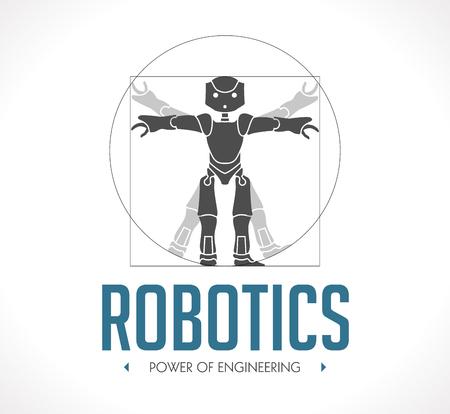 robot: Logo - robotyka - Człowiek witruwiański - Da Vinci Ilustracja