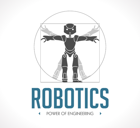 robot: Logo - robotics - The Vitruvian Man - Da Vinci Illustration