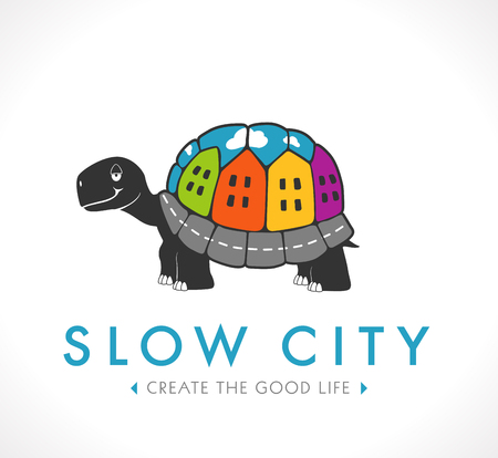 down town: Logo - slow city - good place to live