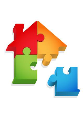 housing problems: Puzzle - house Illustration
