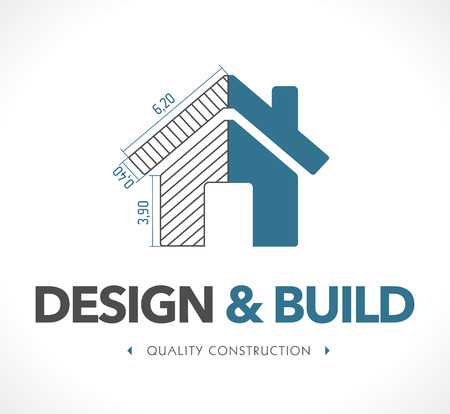 construction signs: Logo - Design and build Illustration
