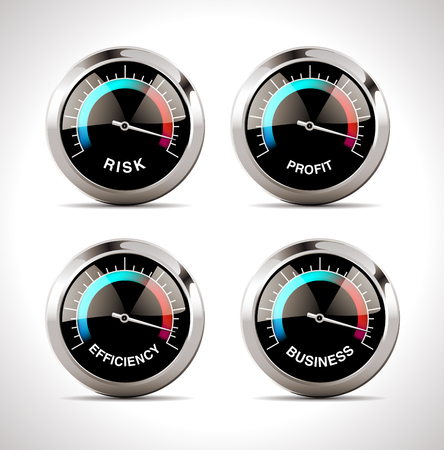 Speedometer concept - risk, profit, business and efficiency Illusztráció