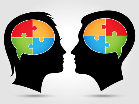 counseling: Puzzle - thinking heads