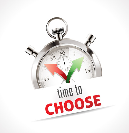choose a path: Stopwatch - Time to choose Illustration