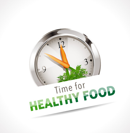 lifestyle: Cronometro - Tempo per il cibo sano Vettoriali