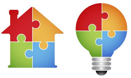case colorate: Puzzle - casa e lampadina Vettoriali