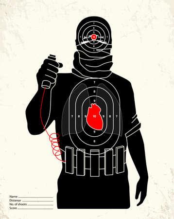 shoot: Terrorist - shooting range target Illustration
