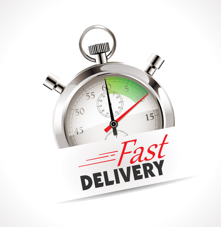 hurried: Stopwatch - Fast delivery - shipping concept
