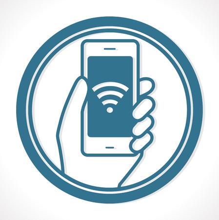 無料ワイヤレス ネットワーク - ホット スポット コンセプト - 携帯電話接続  イラスト・ベクター素材