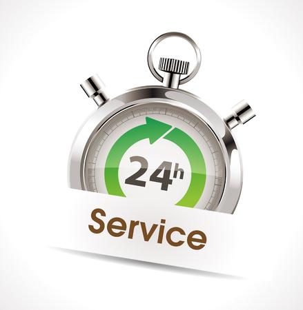 twenty four hour: Stopwatch - service cncept Illustration