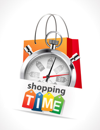 annuities: Stopwatch - Shopping time concept Illustration