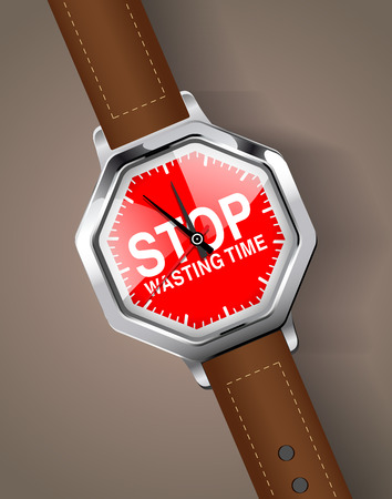 intermission: Handwatch - Stop wasting time concept Illustration