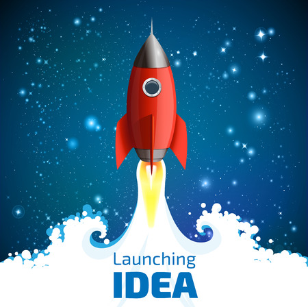 cartoon rocket: Rocket - launching the idea of concept