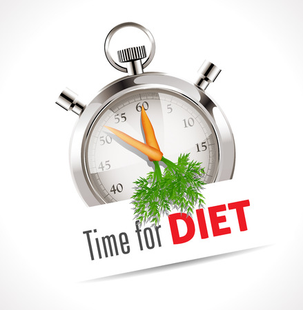 nourishment: Stopwatch - Time for diet - health care concept