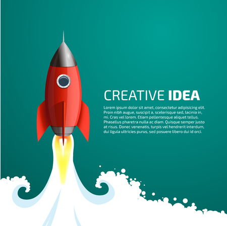 at the start: Rocket - creative idea concept