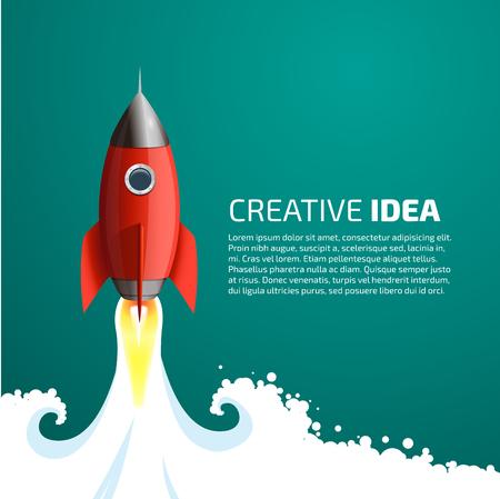 Rocket - concepto de la idea creativa Ilustración de vector