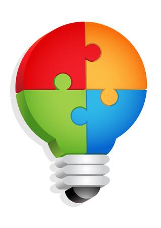 パズル - 電球のコンセプト