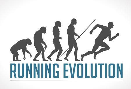 silueta hombre: Logo - corriendo evoluci�n Vectores