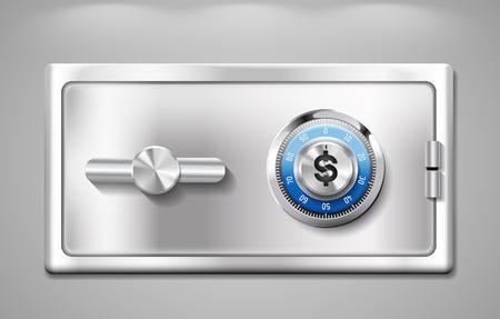 caja fuerte: Caja fuerte con el signo de dólar - concepto de cuenta de ahorros