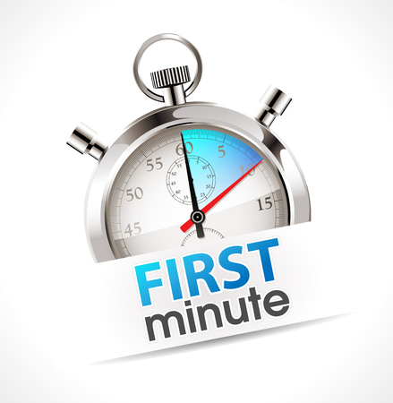 Stopwatch - first minute - promo time concept Vetores