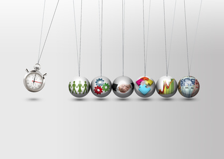 path to wealth: Newtons cradle - time management concept