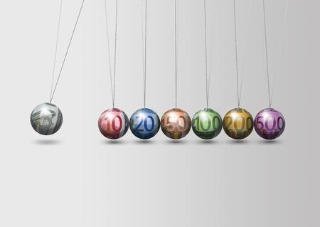 reprocess: Newton - EURO money - reprocess business concept