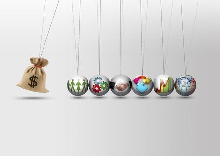 Newtons cradle - impact investing - economy growth concept Stockfoto