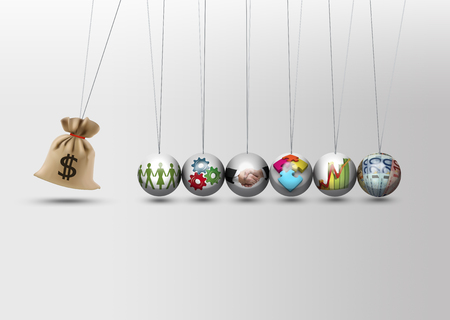 economy growth: Newtons cradle - impact investing - economy growth concept Stock Photo