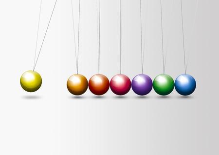 newton cradle: Newton cradle - colorful balls