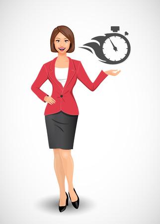 hustle: Businesswoman - time management - manager concept Illustration