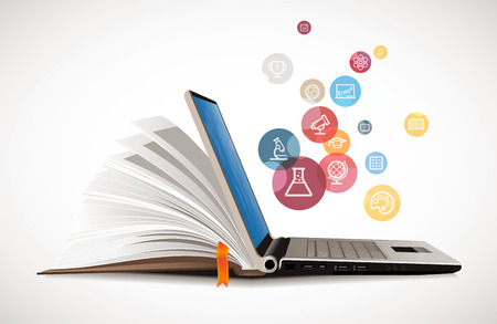 IT Communicatie - E-learning - het internet netwerk als knowledge base Stock Illustratie
