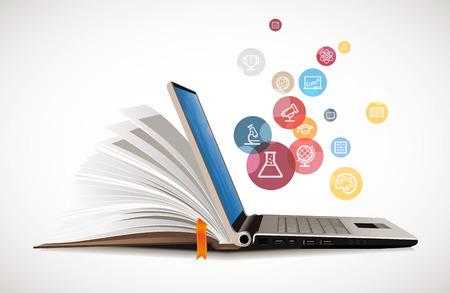 koncepció: IT Kommunikáció - E-learning - az internet hálózat tudásbázis Illusztráció