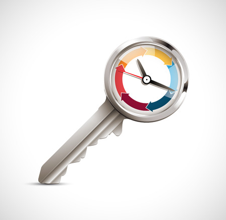 deduct: Clock and key as time management concept Illustration