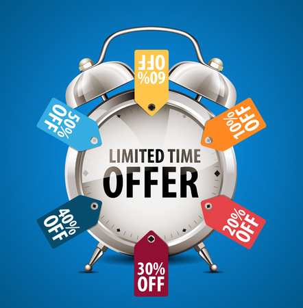 limited time: Alarm clock - limited time offer - sale concept