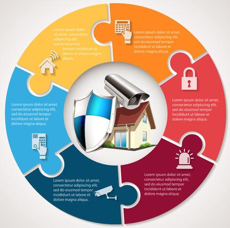 防衛: 保護シールドと CCTV - ホーム セキュリティ コンセプトの家  イラスト・ベクター素材