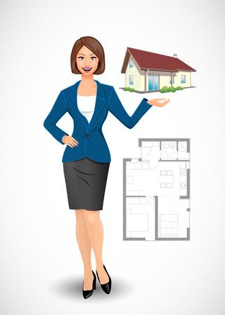 Empresaria - concepto de agente de bienes raíces Foto de archivo - 49251518