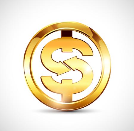 dollar symbol: Golden dollar symbol - gold coin Illustration