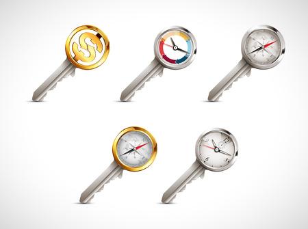gold rush: Concept keys - business idea - key to success Illustration