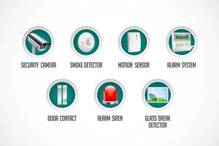Hauptsicherheitssystem - Bewegungsmelder, Glasbruchsensor, Gasdetektor, CCTV-Kamera, Alarm Sirene Alarmanlage Konzept Illustration