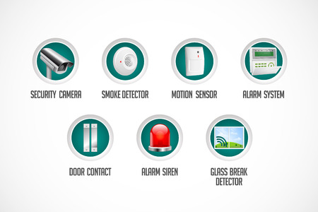 sensors: Home security system - motion detector, glass break sensor, gas detector, cctv camera, alarm siren alarm system concept