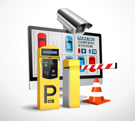 Parking payment station - access control concept Çizim