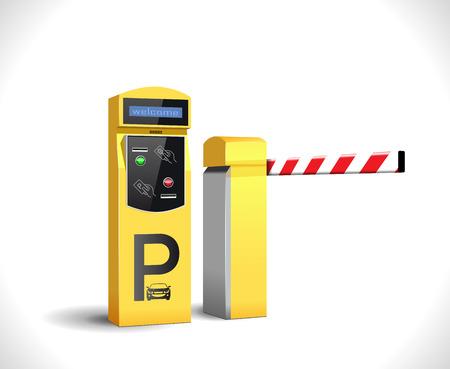 駐車場支払い駅 - アクセス制御の概念  イラスト・ベクター素材